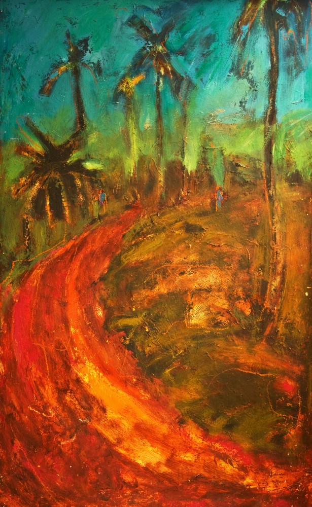 'Red Road Home, Barretos, Brazil', Oil on wooden panel 76 x 122 cm
